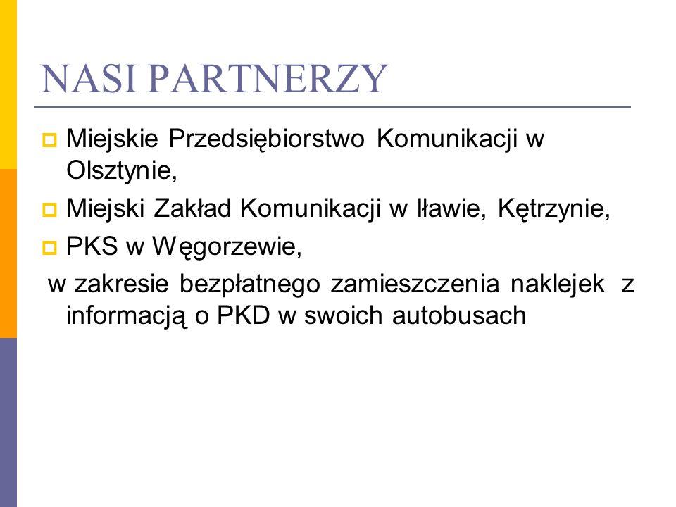 NASI PARTNERZY Miejskie Przedsiębiorstwo Komunikacji w Olsztynie, Miejski Zakład Komunikacji w Iławie, Kętrzynie, PKS w Węgorzewie, w zakresie bezpłat