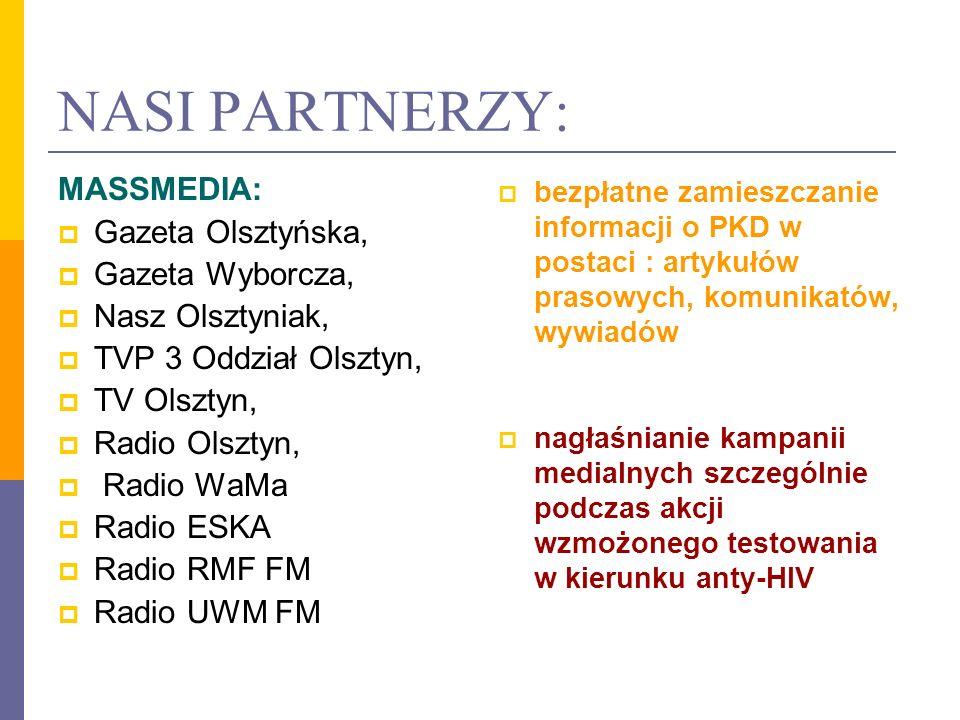NASI PARTNERZY: MASSMEDIA: Gazeta Olsztyńska, Gazeta Wyborcza, Nasz Olsztyniak, TVP 3 Oddział Olsztyn, TV Olsztyn, Radio Olsztyn, Radio WaMa Radio ESK