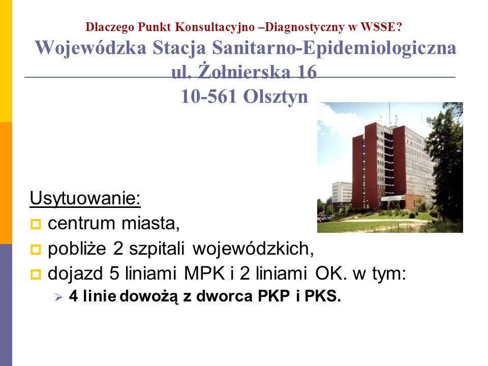 Dlaczego Punkt Konsultacyjno –Diagnostyczny w WSSE? Wojewódzka Stacja Sanitarno-Epidemiologiczna ul. Żołnierska 16 10-561 Olsztyn Usytuowanie: centrum