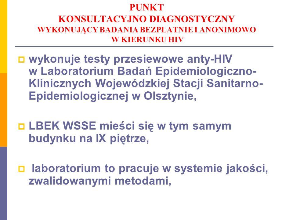 PUNKT KONSULTACYJNO DIAGNOSTYCZNY WYKONUJĄCY BADANIA BEZPŁATNIE I ANONIMOWO W KIERUNKU HIV wykonuje testy przesiewowe anty-HIV w Laboratorium Badań Ep