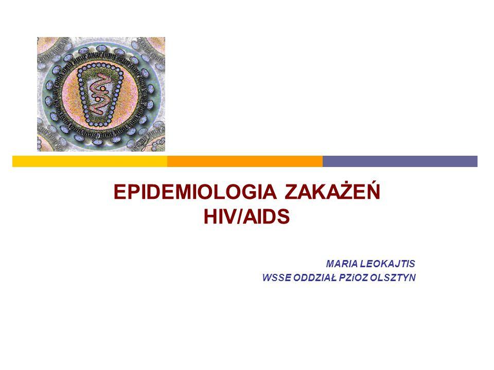EPIDEMIOLOGIA ZAKAŻEŃ HIV/AIDS MARIA LEOKAJTIS WSSE ODDZIAŁ PZiOZ OLSZTYN