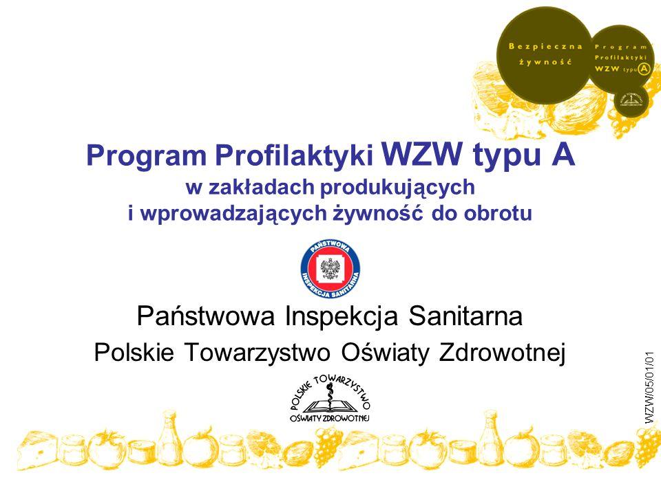 Program Profilaktyki WZW typu A w zakładach produkujących i wprowadzających żywność do obrotu Państwowa Inspekcja Sanitarna Polskie Towarzystwo Oświat