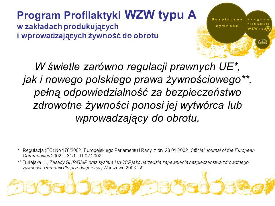 Program Profilaktyki WZW typu A w zakładach produkujących i wprowadzających żywność do obrotu W świetle zarówno regulacji prawnych UE*, jak i nowego p