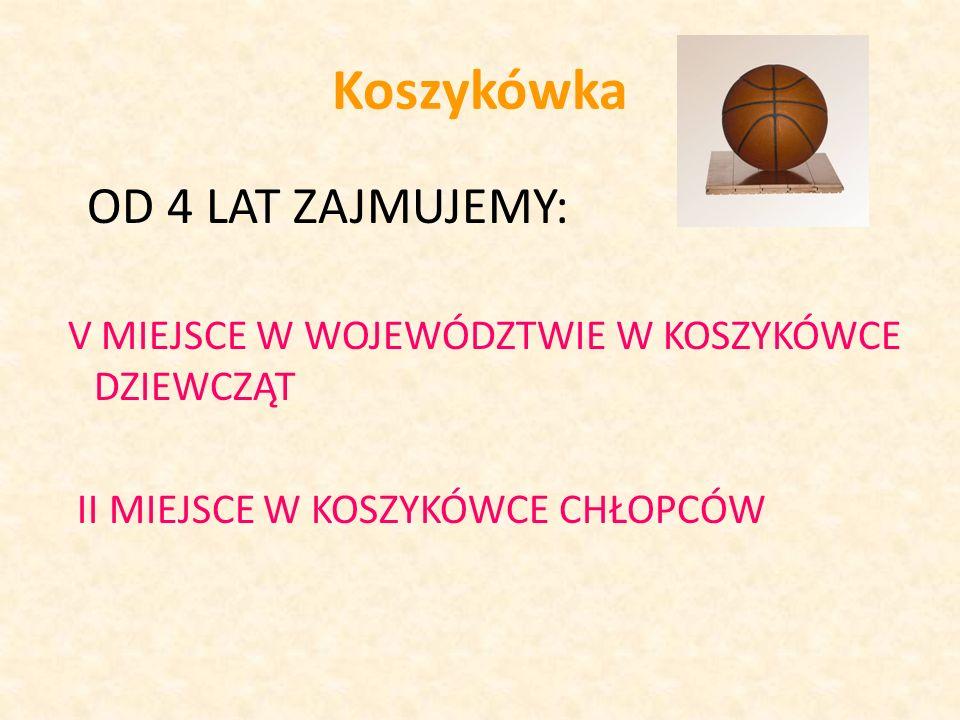 Koszykówka OD 4 LAT ZAJMUJEMY: V MIEJSCE W WOJEWÓDZTWIE W KOSZYKÓWCE DZIEWCZĄT II MIEJSCE W KOSZYKÓWCE CHŁOPCÓW