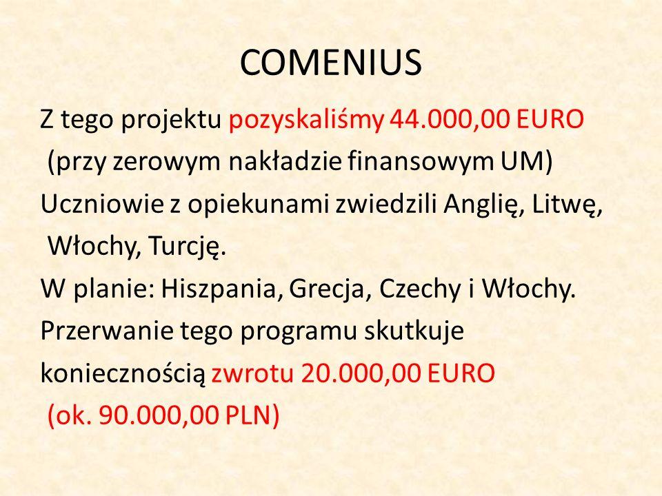 COMENIUS Z tego projektu pozyskaliśmy 44.000,00 EURO (przy zerowym nakładzie finansowym UM) Uczniowie z opiekunami zwiedzili Anglię, Litwę, Włochy, Tu
