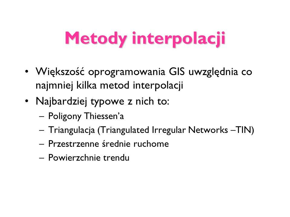 Metody interpolacji Większość oprogramowania GIS uwzględnia co najmniej kilka metod interpolacji Najbardziej typowe z nich to: –Poligony Thiessena –Tr