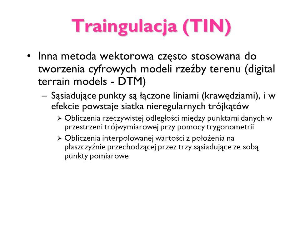 Traingulacja (TIN) Inna metoda wektorowa często stosowana do tworzenia cyfrowych modeli rzeźby terenu (digital terrain models - DTM) –Sąsiadujące punk