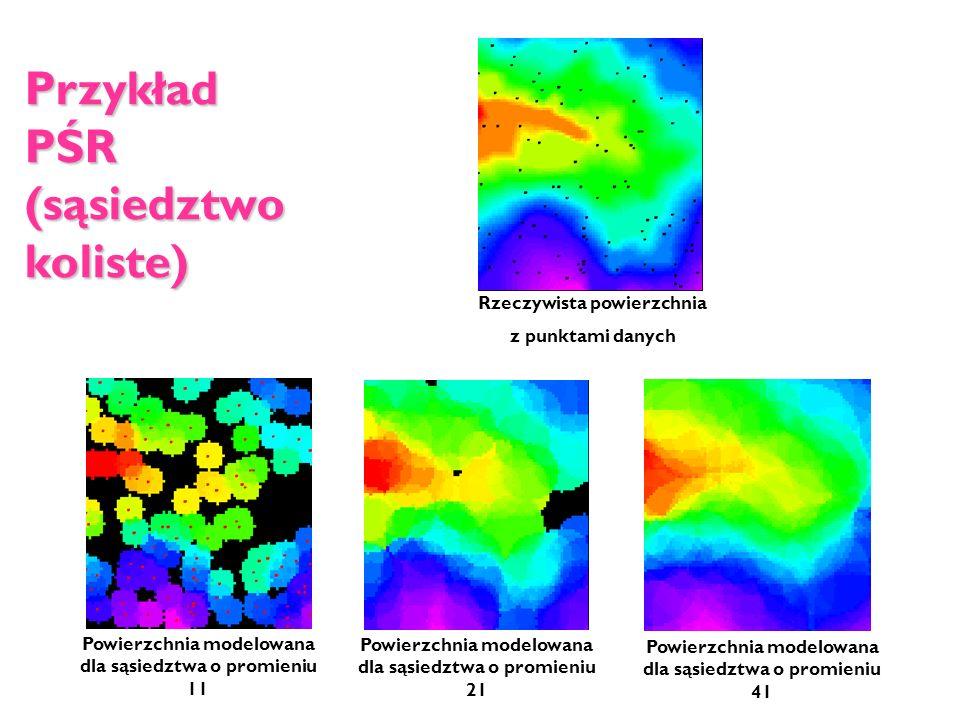 Przykład PŚR (sąsiedztwo koliste) Rzeczywista powierzchnia z punktami danych Powierzchnia modelowana dla sąsiedztwa o promieniu 11 Powierzchnia modelo