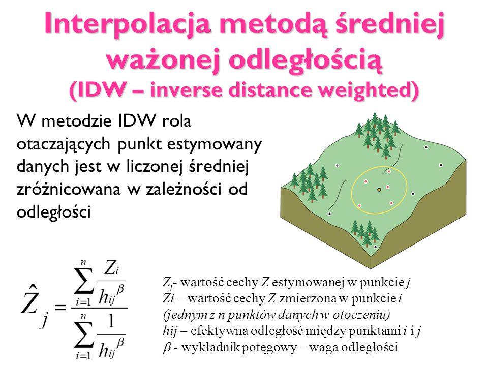 Interpolacja metodą średniej ważonej odległością (IDW – inverse distance weighted) W metodzie IDW rola otaczających punkt estymowany danych jest w lic