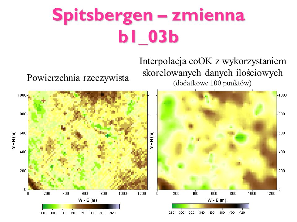 Spitsbergen – zmienna b1_03b Powierzchnia rzeczywista Interpolacja coOK z wykorzystaniem skorelowanych danych ilościowych (dodatkowe 100 punktów)