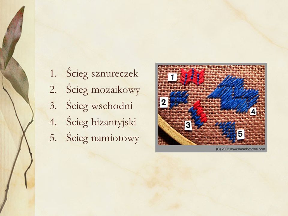1.Ścieg sznureczek 2.Ścieg mozaikowy 3.Ścieg wschodni 4.Ścieg bizantyjski 5.Ścieg namiotowy