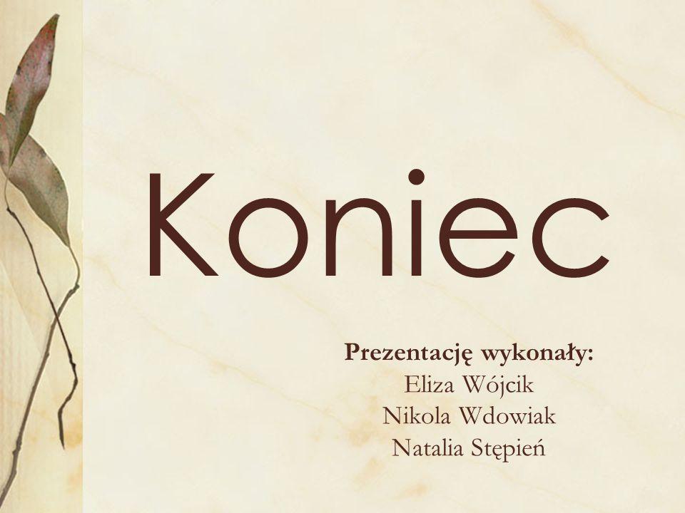 Koniec Prezentację wykonały: Eliza Wójcik Nikola Wdowiak Natalia Stępień