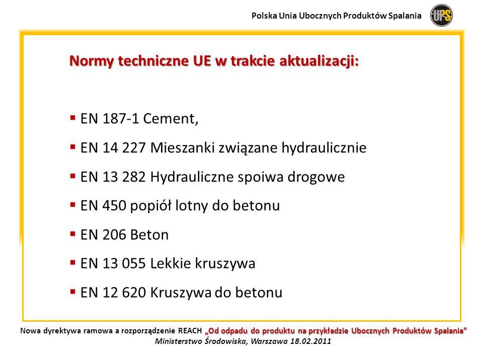 Normy techniczne UE w trakcie aktualizacji: EN 187-1 Cement, EN 14 227 Mieszanki związane hydraulicznie EN 13 282 Hydrauliczne spoiwa drogowe EN 450 p