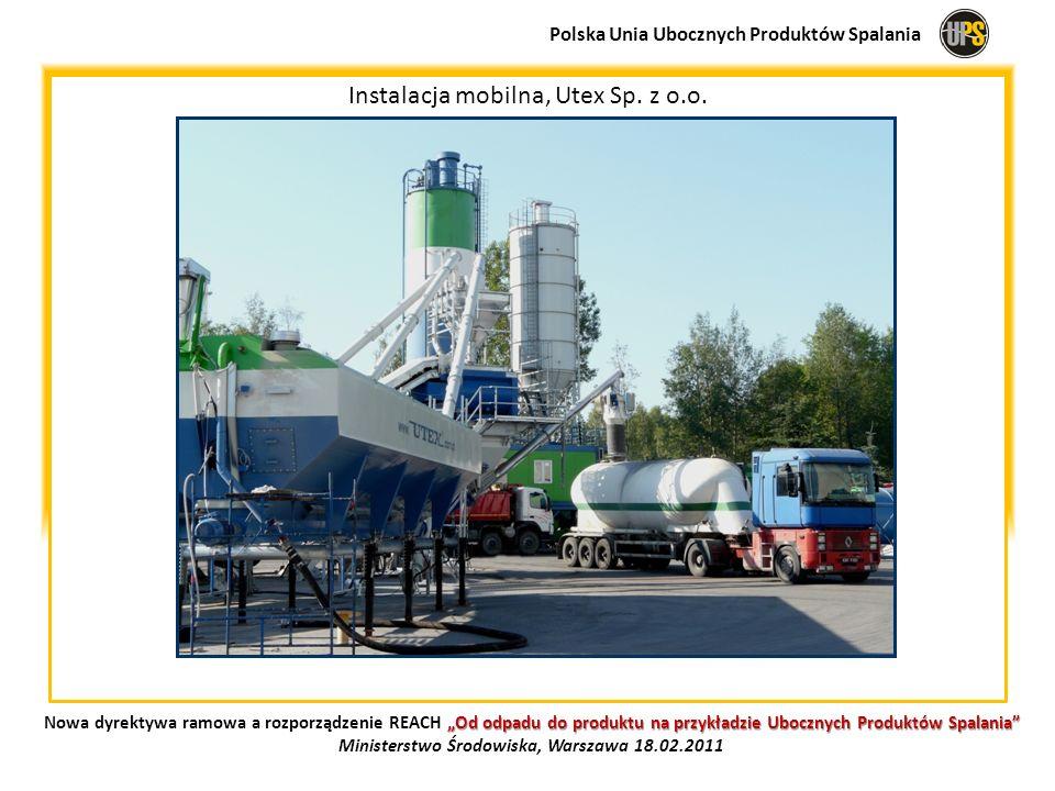 Instalacja mobilna, Utex Sp. z o.o. Polska Unia Ubocznych Produktów Spalania Od odpadu do produktu na przykładzie Ubocznych Produktów Spalania Nowa dy