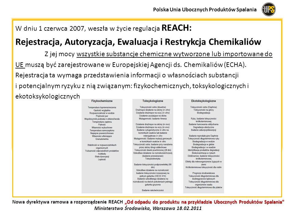 W dniu 1 czerwca 2007, weszła w życie regulacja REACH: Rejestracja, Autoryzacja, Ewaluacja i Restrykcja Chemikaliów Z jej mocy wszystkie substancje ch