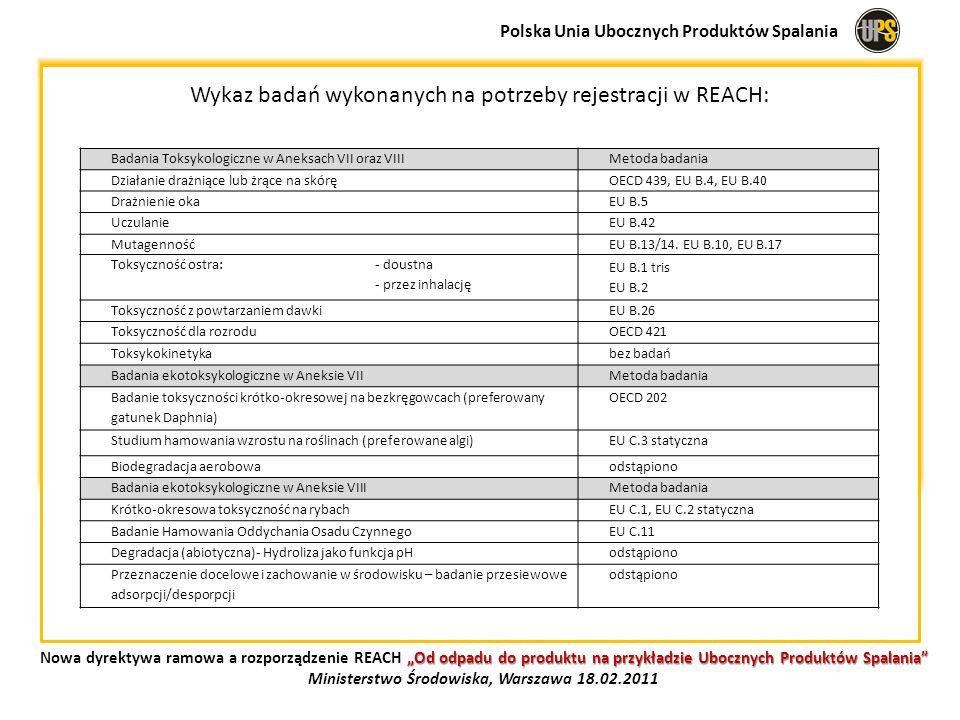 Wykaz badań wykonanych na potrzeby rejestracji w REACH: Polska Unia Ubocznych Produktów Spalania Od odpadu do produktu na przykładzie Ubocznych Produk
