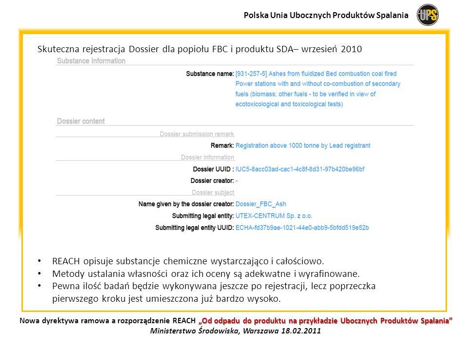 Skuteczna rejestracja Dossier dla popiołu FBC i produktu SDA– wrzesień 2010 REACH opisuje substancje chemiczne wystarczająco i całościowo. Metody usta
