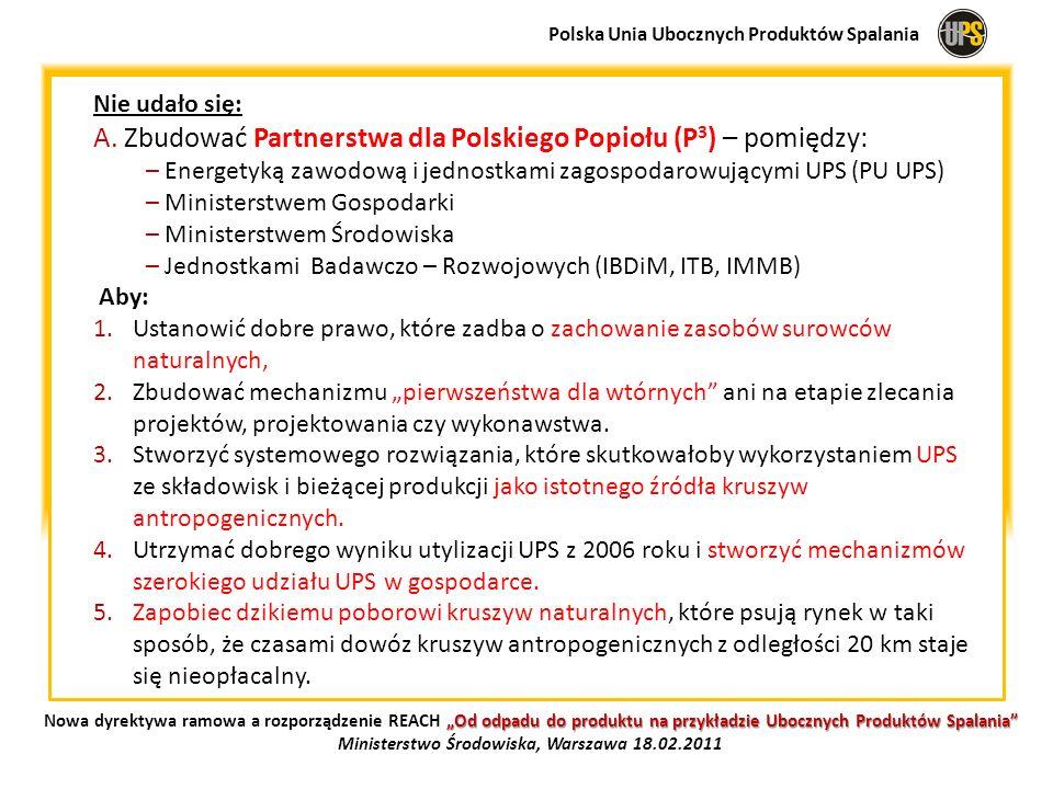 Nie udało się: A. Zbudować Partnerstwa dla Polskiego Popiołu (P 3 ) – pomiędzy: – Energetyką zawodową i jednostkami zagospodarowującymi UPS (PU UPS) –