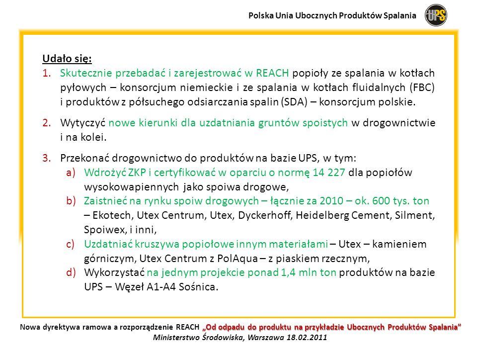 Udało się: 1.Skutecznie przebadać i zarejestrować w REACH popioły ze spalania w kotłach pyłowych – konsorcjum niemieckie i ze spalania w kotłach fluid