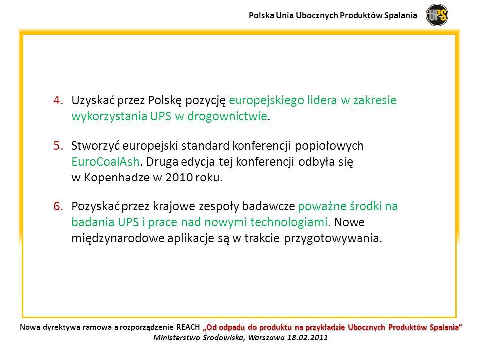 4.Uzyskać przez Polskę pozycję europejskiego lidera w zakresie wykorzystania UPS w drogownictwie. 5.Stworzyć europejski standard konferencji popiołowy