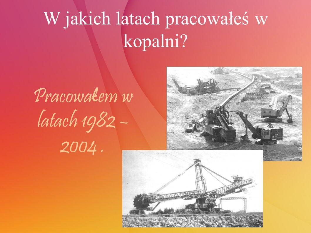 W jakich latach pracowałeś w kopalni Pracowa ł em w latach 1982 – 2004.