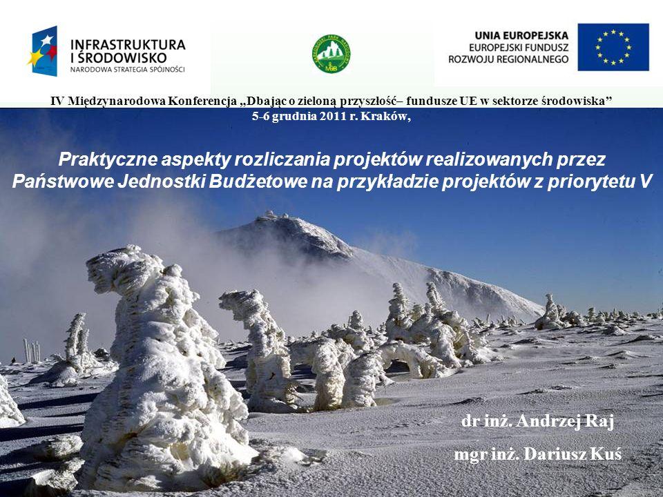 Praktyczne aspekty rozliczania projektów realizowanych przez Państwowe Jednostki Budżetowe na przykładzie projektów z priorytetu V IV Międzynarodowa Konferencja Dbając o zieloną przyszłość– fundusze UE w sektorze środowiska 5-6 grudnia 2011 r.