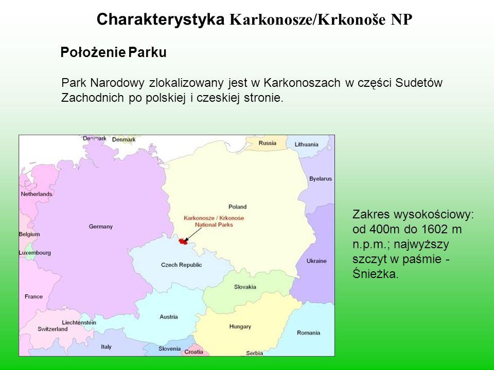 Karkonosze/Krkonoše NP Charakterystyka Karkonosze/Krkonoše NP Położenie Parku Park Narodowy zlokalizowany jest w Karkonoszach w części Sudetów Zachodnich po polskiej i czeskiej stronie.
