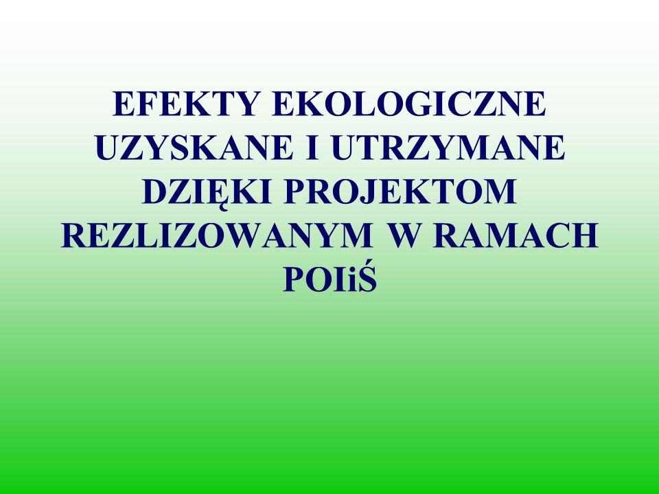 EFEKTY EKOLOGICZNE UZYSKANE I UTRZYMANE DZIĘKI PROJEKTOM REZLIZOWANYM W RAMACH POIiŚ