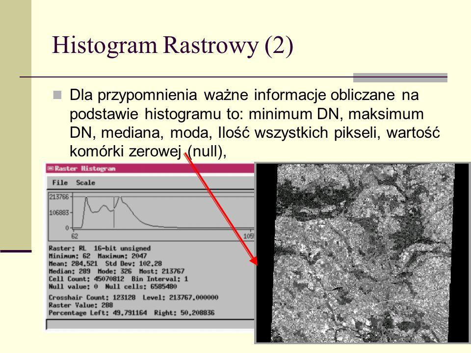 Histogram Rastrowy (2) Dla przypomnienia ważne informacje obliczane na podstawie histogramu to: minimum DN, maksimum DN, mediana, moda, Ilość wszystki