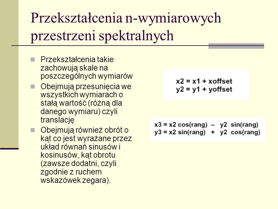 Przekształcenia n-wymiarowych przestrzeni spektralnych Przekształcenia takie zachowują skale na poszczególnych wymiarów Obejmują przesunięcia we wszys