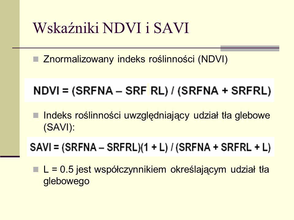 Wskaźniki NDVI i SAVI Znormalizowany indeks roślinności (NDVI) Indeks roślinności uwzględniający udział tła glebowe (SAVI): L = 0.5 jest współczynniki