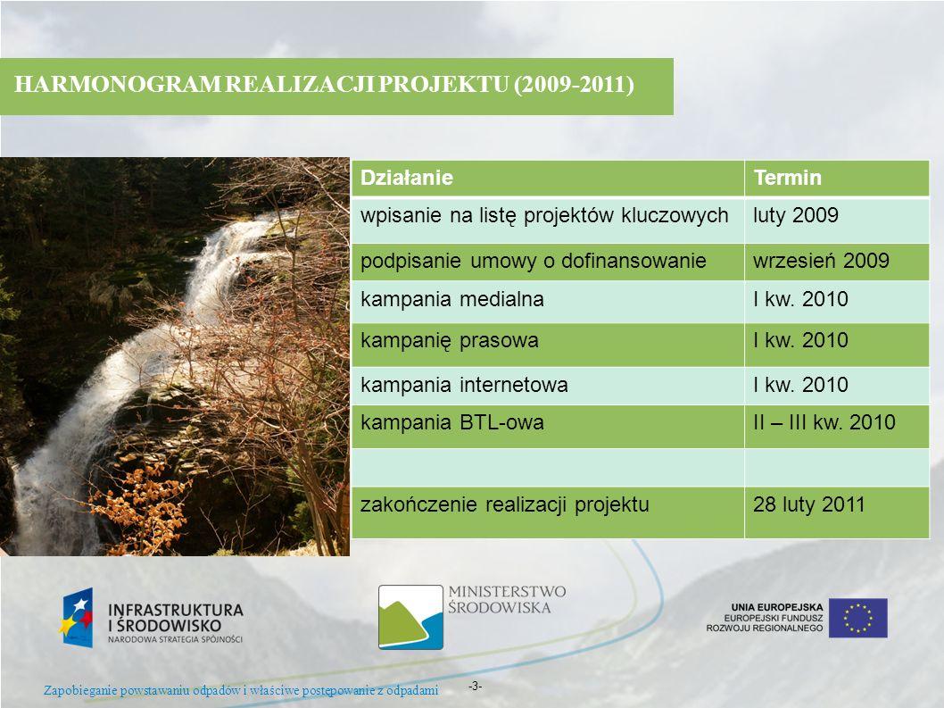 -3- HARMONOGRAM REALIZACJI PROJEKTU (2009-2011) DziałanieTermin wpisanie na listę projektów kluczowychluty 2009 podpisanie umowy o dofinansowaniewrzes