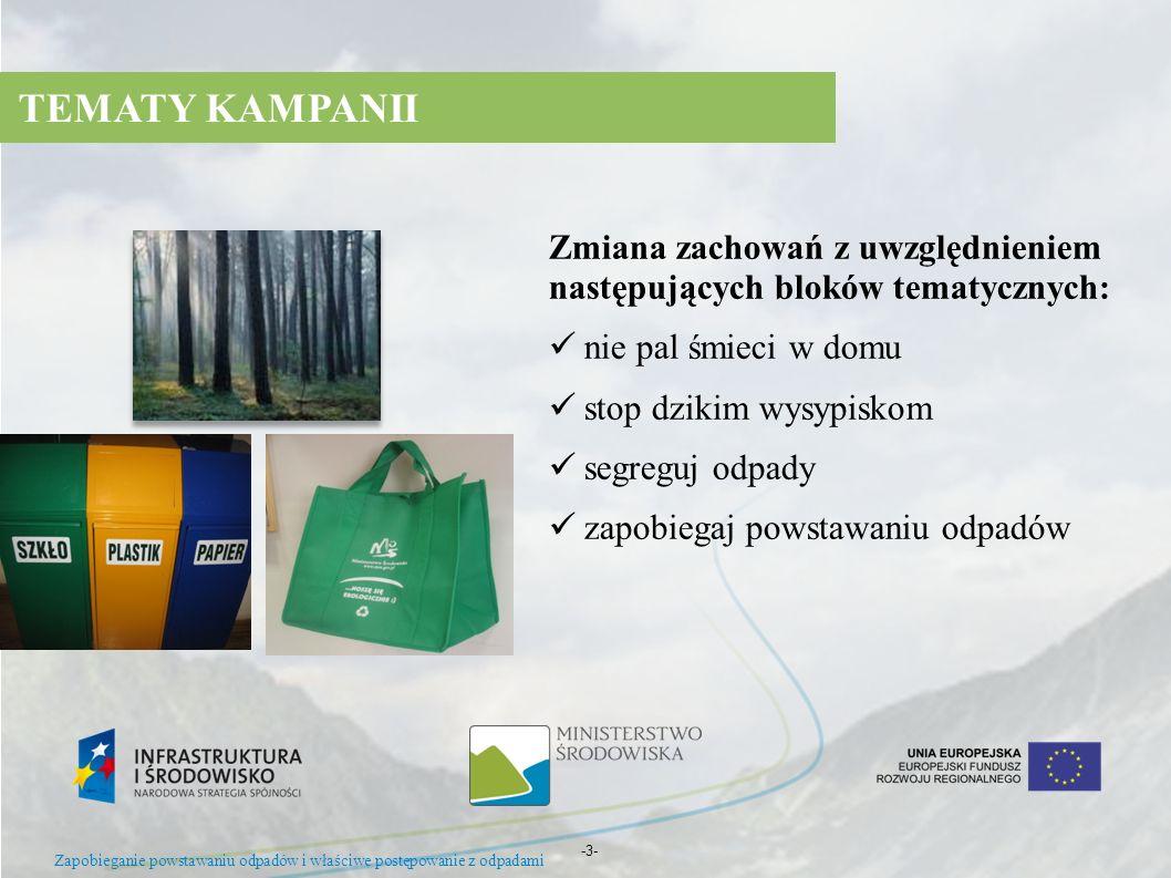 Zapobieganie powstawaniu odpadów i właściwe postępowanie z odpadami -3- Zmiana zachowań z uwzględnieniem następujących bloków tematycznych: nie pal śm
