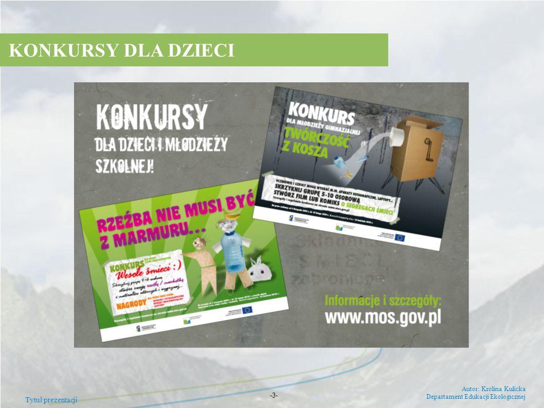 Tytuł prezentacji Autor: Krolina Kulicka Departament Edukacji Ekologicznej -3- KONKURSY DLA DZIECI