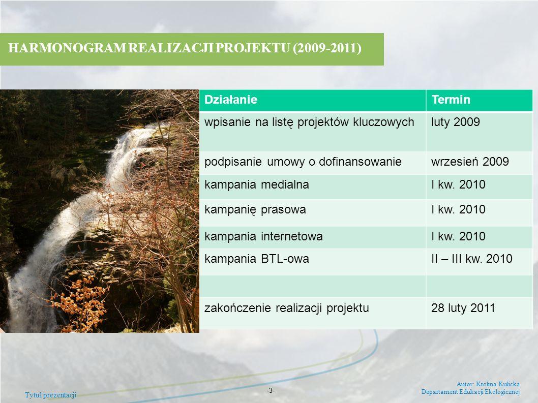 Tytuł prezentacji Autor: Krolina Kulicka Departament Edukacji Ekologicznej -3- HARMONOGRAM REALIZACJI PROJEKTU (2009-2011) DziałanieTermin wpisanie na