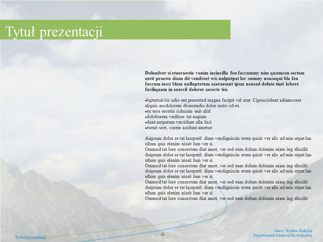 Tytuł prezentacji Autor: Krolina Kulicka Departament Edukacji Ekologicznej -3- Dolendrer si etueraestie venim incincilla feu faccummy nim quamcon sect