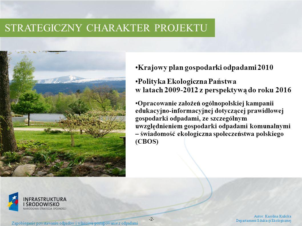 Krajowy plan gospodarki odpadami 2010 Polityka Ekologiczna Państwa w latach 2009-2012 z perspektywą do roku 2016 Opracowanie założeń ogólnopolskiej ka