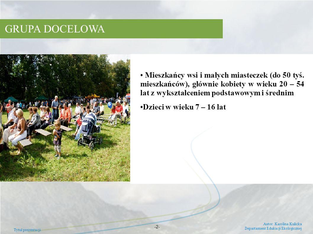 Tytuł prezentacji Autor: Krolina Kulicka Departament Edukacji Ekologicznej -3- HARMONOGRAM REALIZACJI PROJEKTU (2009-2011) DziałanieTermin wpisanie na listę projektów kluczowychluty 2009 podpisanie umowy o dofinansowaniewrzesień 2009 kampania medialnaI kw.