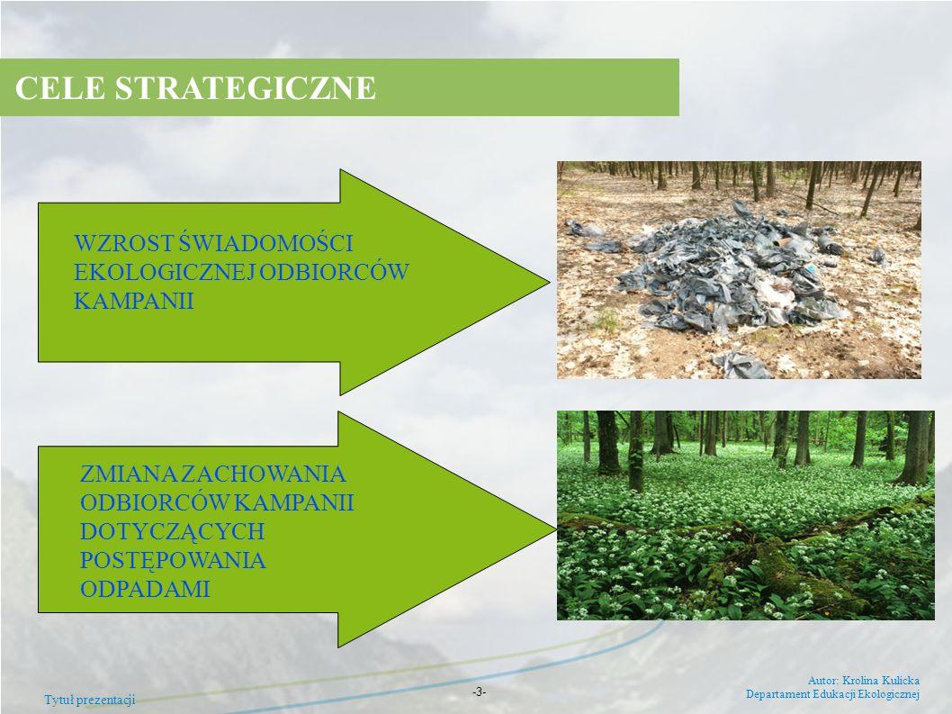 Tytuł prezentacji Autor: Krolina Kulicka Departament Edukacji Ekologicznej -3- Zmiana zachowań z uwzględnieniem następujących bloków tematycznych: nie pal śmieci w domu stop dzikim wysypiskom segreguj odpady zapobiegaj powstawaniu odpadów CELE SZCZEGÓŁOWE
