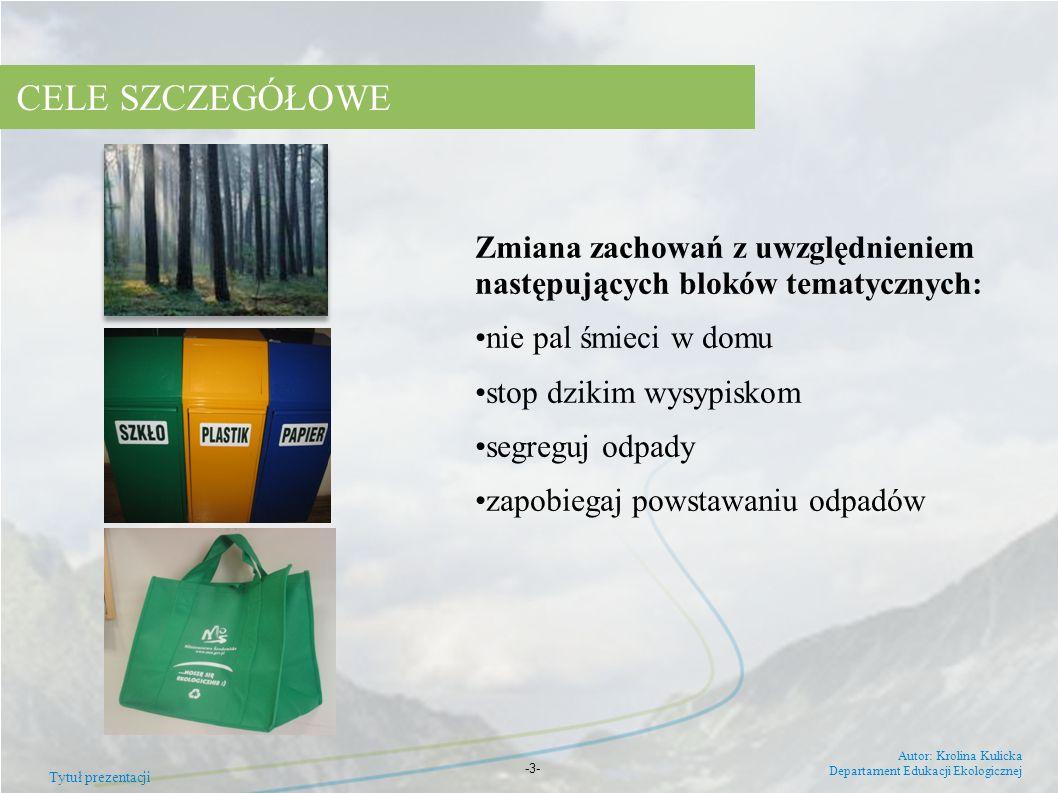 Tytuł prezentacji Autor: Krolina Kulicka Departament Edukacji Ekologicznej -3- Zmiana zachowań z uwzględnieniem następujących bloków tematycznych: nie
