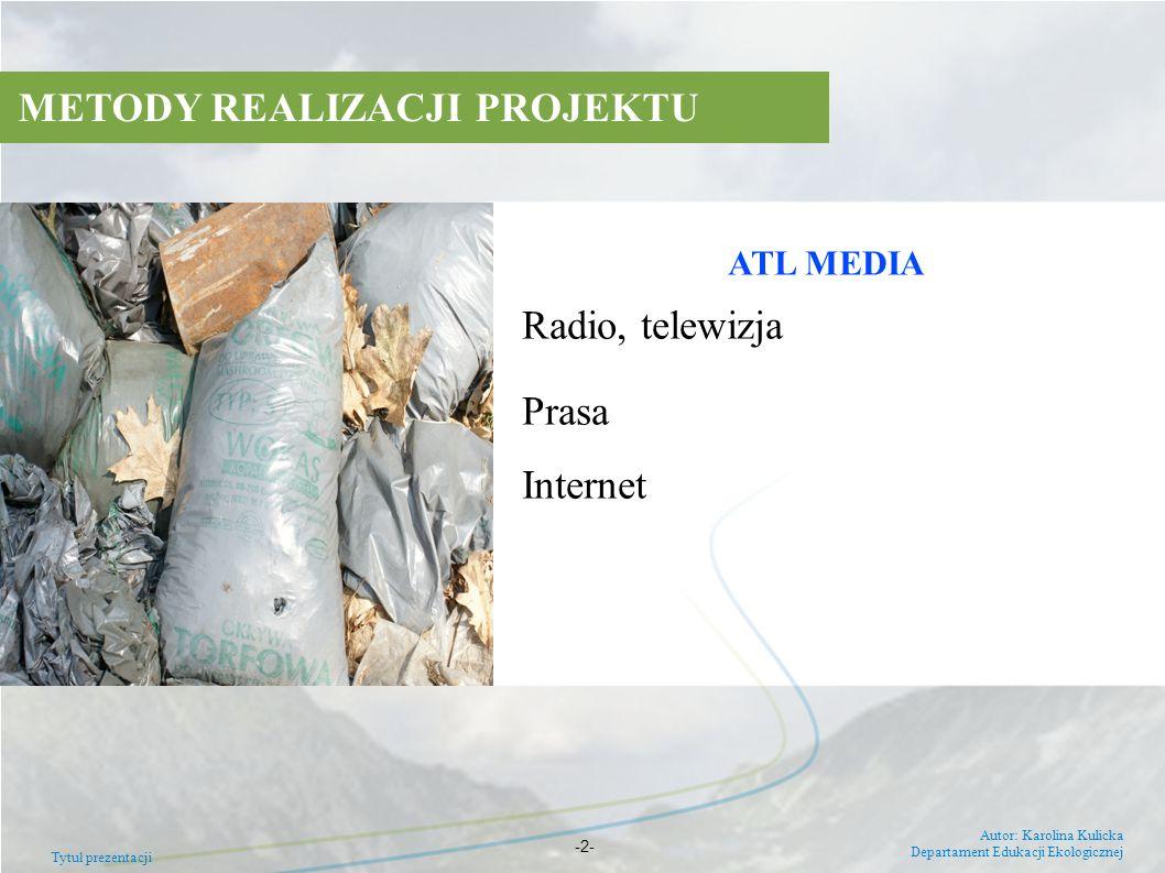 ATL MEDIA Radio, telewizja Prasa Internet METODY REALIZACJI PROJEKTU Tytuł prezentacji Autor: Karolina Kulicka Departament Edukacji Ekologicznej -2-
