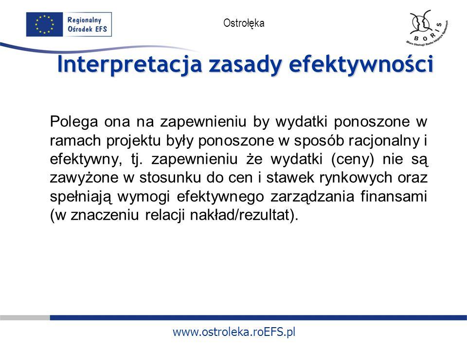 www.ostroleka.roEFS.pl Ostrołęka Interpretacja zasady efektywności Polega ona na zapewnieniu by wydatki ponoszone w ramach projektu były ponoszone w sposób racjonalny i efektywny, tj.