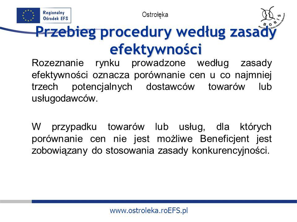 www.ostroleka.roEFS.pl Ostrołęka Przebieg procedury według zasady efektywności Rozeznanie rynku prowadzone według zasady efektywności oznacza porównanie cen u co najmniej trzech potencjalnych dostawców towarów lub usługodawców.