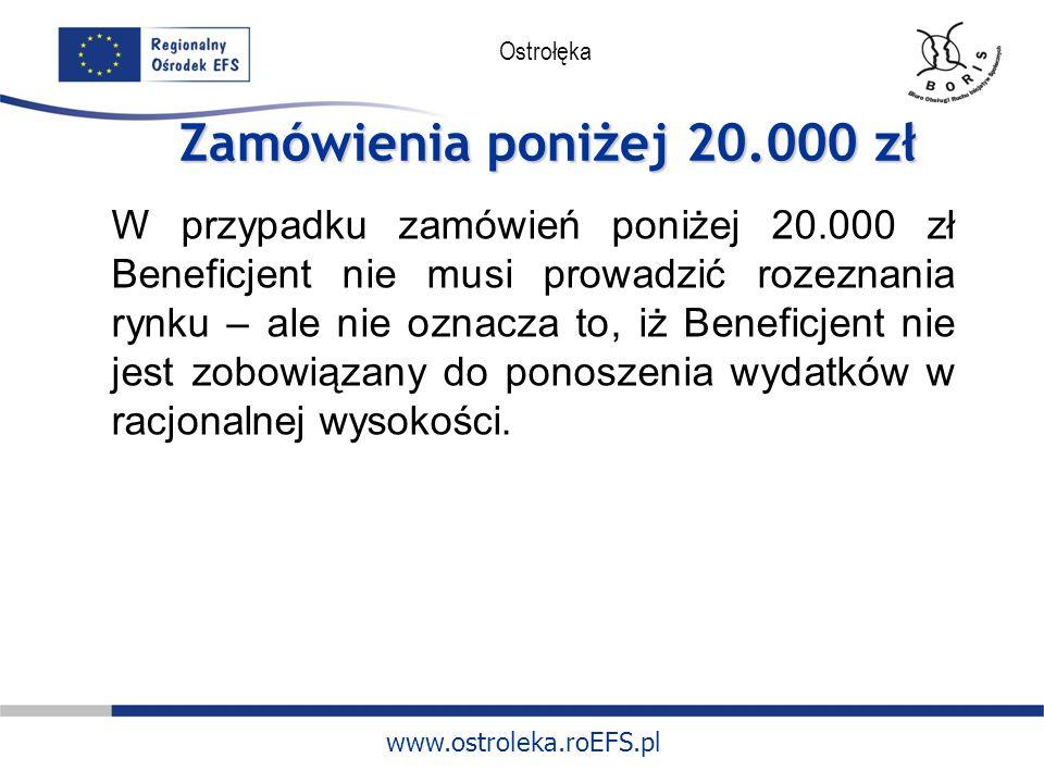 www.ostroleka.roEFS.pl Ostrołęka Zamówienia poniżej 20.000 zł W przypadku zamówień poniżej 20.000 zł Beneficjent nie musi prowadzić rozeznania rynku – ale nie oznacza to, iż Beneficjent nie jest zobowiązany do ponoszenia wydatków w racjonalnej wysokości.
