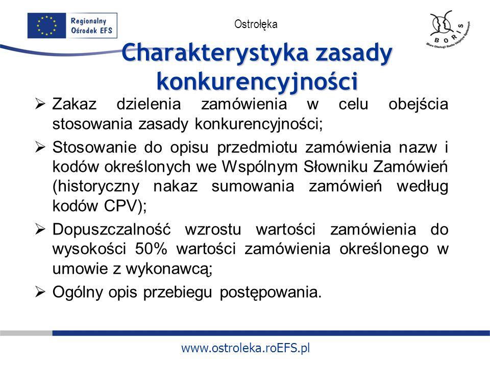 www.ostroleka.roEFS.pl Ostrołęka Charakterystyka zasady konkurencyjności Zakaz dzielenia zamówienia w celu obejścia stosowania zasady konkurencyjności