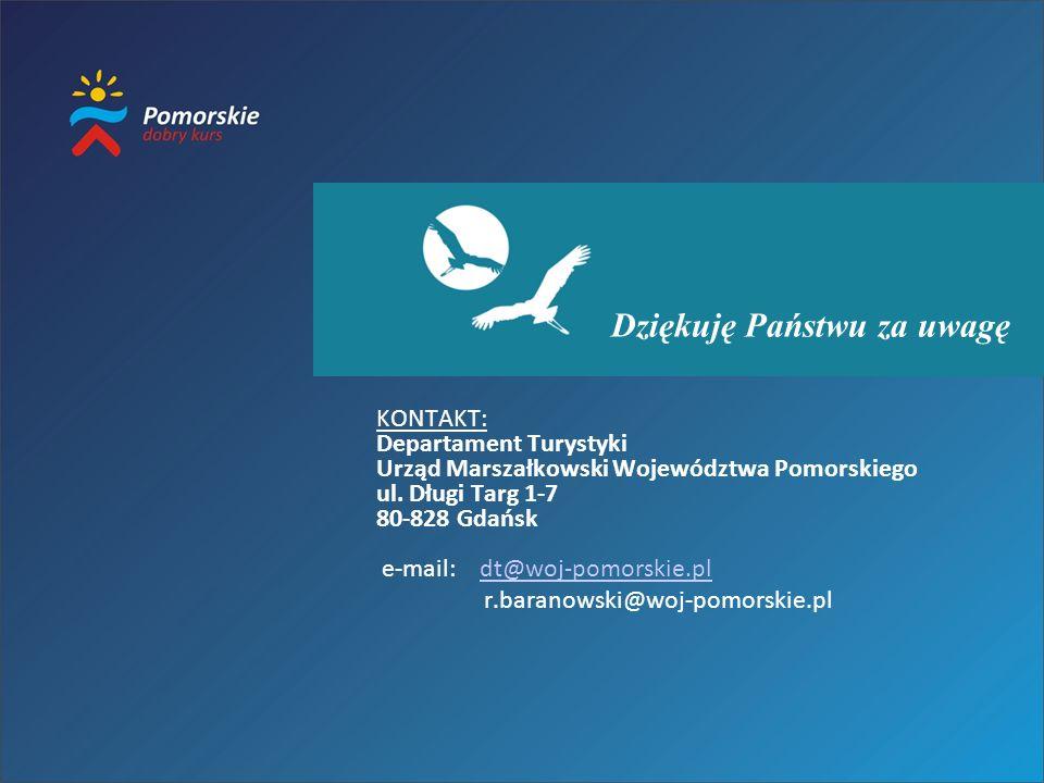 Dziękuję Państwu za uwagę KONTAKT: Departament Turystyki Urząd Marszałkowski Województwa Pomorskiego ul. Długi Targ 1-7 80-828 Gdańsk e-mail: dt@woj-p