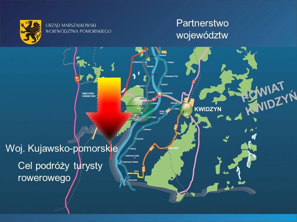 Partnerstwo województw Woj. Kujawsko-pomorskie Cel podróży turysty rowerowego