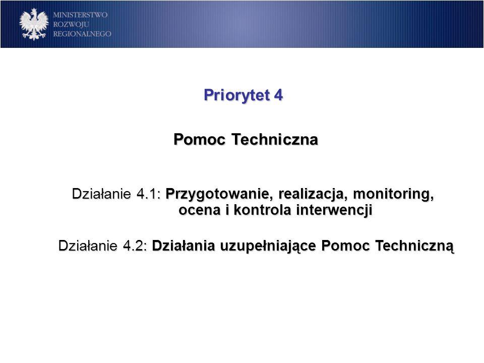 Priorytet 4 Pomoc Techniczna Pomoc Techniczna Działanie 4.1: Przygotowanie, realizacja, monitoring, ocena i kontrola interwencji Działanie 4.2: Działa
