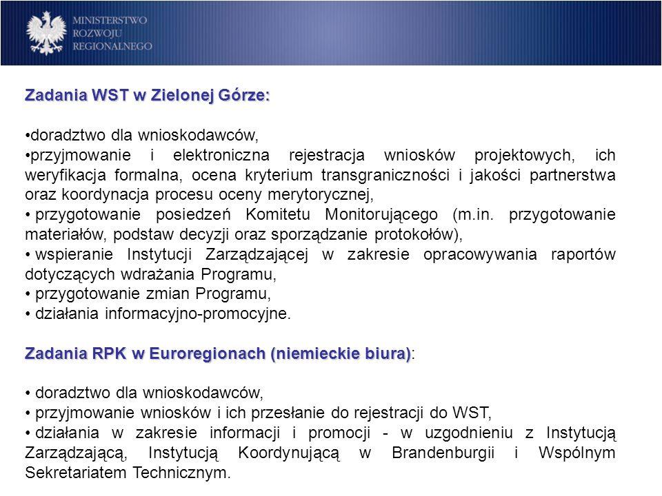 Zadania WST w Zielonej Górze: doradztwo dla wnioskodawców, przyjmowanie i elektroniczna rejestracja wniosków projektowych, ich weryfikacja formalna, o