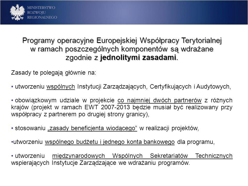 Programy operacyjne Europejskiej Współpracy Terytorialnej w ramach poszczególnych komponentów są wdrażane zgodnie z jednolitymi zasadami. Zasady te po